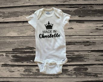 Made in Charlotte Onesie, NC Baby, Charlotte Onesie, Gender Neutral Baby, Newborn Outfit, Coming Home Outfit, Baby Shower Gift
