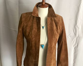 Vintage 1990s 100% Leather Jacket // Camel colored jacket // Kate Hill // Size XS // Size 2P