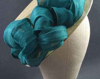 Natural and teal green hat, wedding hat, occasion hat, mother of the bride