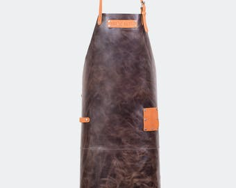 Leather Apron with custom name - brown