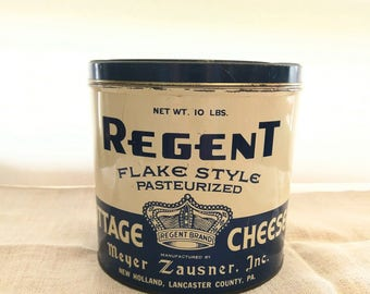 Vintage Tin Canister / Regent Cottage Cheese Tin Lancaster County, PA 10 lb Can