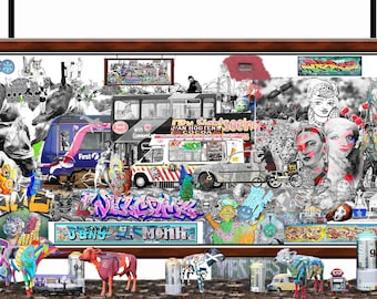 Highlands - limited edition art print of a custom photographic montage composed of Scottish street art, tattoos, graffiti signed by artist