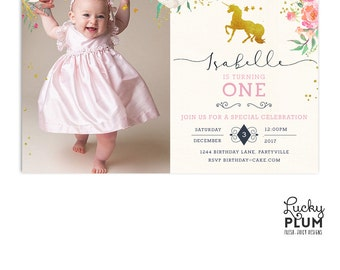 Unicorn Birthday Invitation / Horse Birthday Invitation / First Birthday Invitation / My Little Pony Invitation / Pink Gold UC01