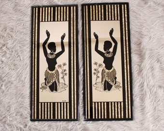 vintage african art mirror set . nude woman wall art . 1970s 80s vintage art . nude silhouette wall hanging decor . Albert Richie mirror