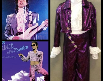 MADE TO ORDER Toddler Prince 'Purple Rain & Dream Factory' Inspired Pant, Ruffle Top and Short Jacket Inspired Costume