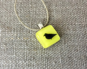 Robin bird Pendant Glass Jewelry Necklace of Fused Glass by Happy Owl - sparrow aviary black on yellow cute kids jewelry