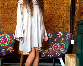 True Love Waits shift dress in organic hemp jersey (mini length). Made to order.