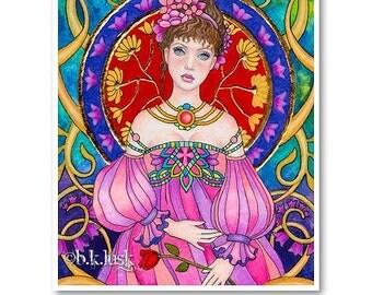 Signed 8 x 10 Print Flowering Princess Art Pink Nouveau Goddess Diva Mother Nature B. K . Lusk