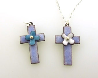 Small Cross Necklace, Cross with Flower, enameled cross charm, baptism gift, Christian faith necklace by Kathryn Riechert