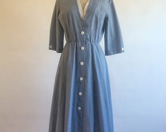 1970s 1980s Blue Button Down Day Dress by R&K Petite Size 6