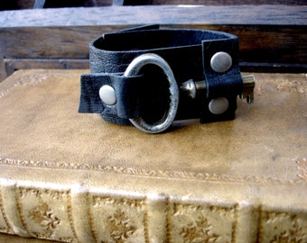 Black Leather Cuff with Rustic Vintage Key - Black Steampunk Cuff Bracelet - SMALL