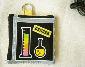 Danger Science Earbud Pouch - Chemistry themed Keychain Pocket - black and yellow gift for science teacher, chem major, women in science