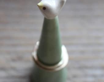 Handmade White & Celadon Green Bird Ring Cone - Ready to Ship