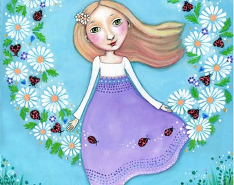 Girl and Lady bug Wall Decor lady beetle Art girls Nursery daisy wall art girl with daisies Flower Art Mixed Media Painting Gift for Friend