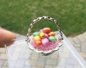 Silver Easter Basket with Pastel Pearlized Eggs by IGMA Artisan Diane Paone