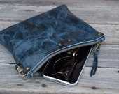 Medium Blue Leather Zipper Pouch  /  Zippered Purse /  Phone Case / Camera Wristlet / Ready To Ship