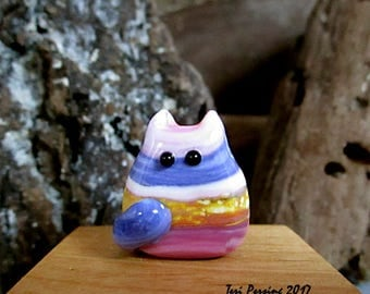 Handmade Lampwork Easter Egg Cat Bead Focal - Mo FatCat