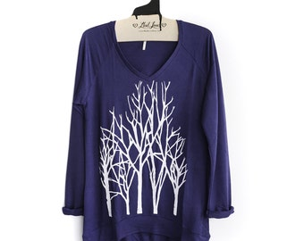 Sale Small - Navy SUPER SOFT V-Neck Long Sweater/Sweatshirt with Branch Trees Screen print