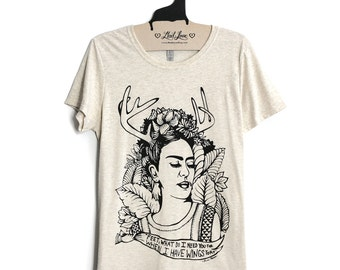 Large - Oatmeal Scoop/Crew Neck Top with Frida Kahlo Screen Print