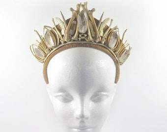 Mink Bone and Quartz Crystal Handmade Crown - by Loschy Designs