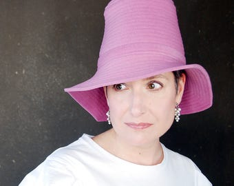 Orchid pink spring hat, easter bonnet, asymmetrical brim cloche, wool wide brim hat, handmade millinery for women : Piazza
