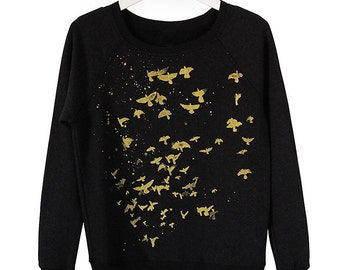 SALE Metallic Birds French Terry Sweatshirt