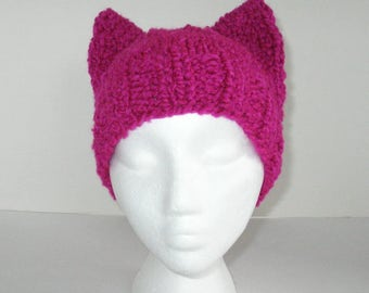 Kitty Hat, Knit Bright Pink Cat Hat, Pussy Hat