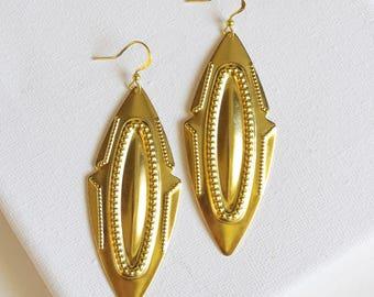 SALE . cheyenne // gold navajo earrings . gold statement earrings . gold aztec earrings . shield jewelry . navajo jewelry