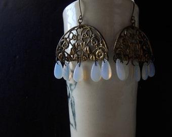 water gardens - filigree and opalite wide chandelier earrings - art nouveau inspired floral earrings