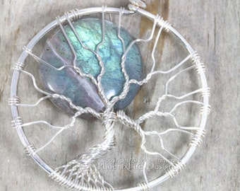 Blue Labradorite Tree of Life Pendant Full Moon Necklace Green Blue Flash Silver Wire Wrapped Celestial Jewelry Boho Blue Moon Lunar Jewelry