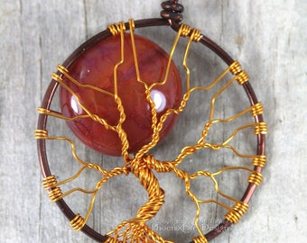 Orange Full Moon Tree of Life Pendant Fire Cracked Agate Necklace Brown and Copper Wire Wrapped Jewelry Gemstone Harvest Moon Mixed Metals