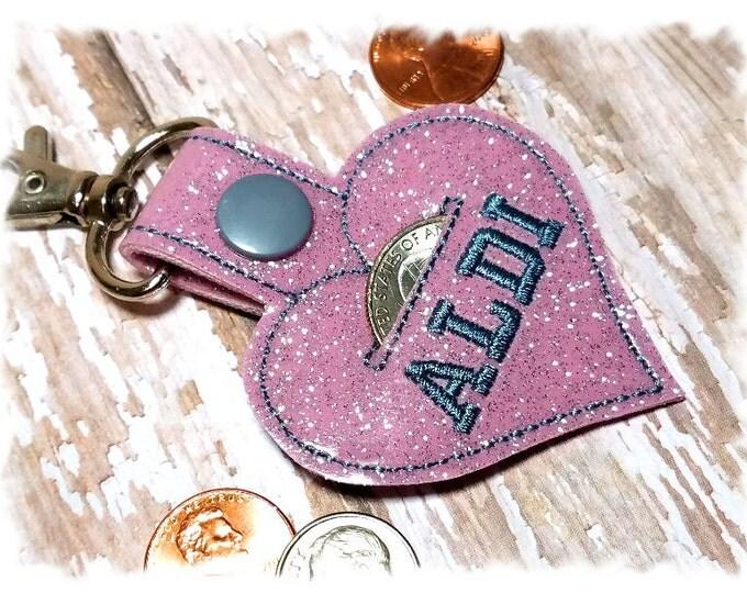 Quarter Keeper, Quarter Holder, Coin Holder, Key Fob Holder, Quarter Pouch, Heart Keychain
