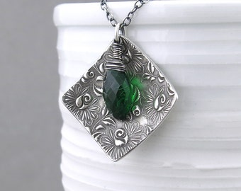 Emerald Necklace Green Necklace Boho Necklace Sterling Silver Necklace Pendant Unique Handmade Jewelry Gift for Women - Contrast
