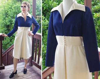 FIRST Lady 1960's 70's Vintage Navy Blue + Cream White Designer Dress with Pointed Collar // by Mardi Gras New York // size Small Med