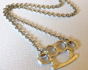 Brass Knuckles Necklace on Silver Rolo Chain - Mens Necklace Mens Jewelry