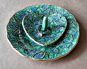 Ceramic jewelry dish and matching heart ring holder Peacock Green  edged in gold