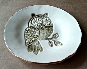 Ceramic Trinket Dish Owl edged in gold