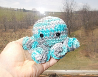 Crochet Octopus Amigurumi, Octopus Plush, Stuffed Animal,Cute,Toy, Stuffed Octopus, Basket Filler, Aqua and grays, Palm Size