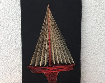 Vintage Nautical String Art Ship Boat FREE SHIPPING