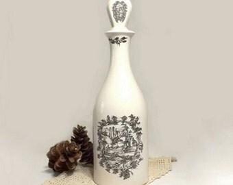 Coalport Decanter, Harveys Bristol, Black & White Landscapes, Limited Edition Museum Souvenir Wine Bottle, Made in England