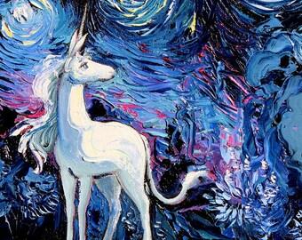 Last Unicorn 24x36 Art - Starry Night rectangular print van Gogh Never Saw The Last by Aja