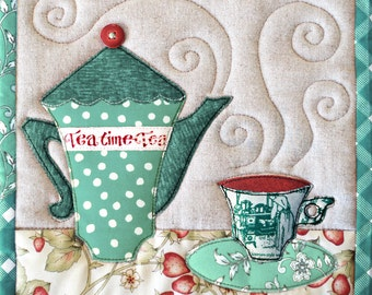 TeaTime Trivets ( tea teacup teapot coffee coffeepot appliqué embroidery potholder mugrug patchwork quilt pattern )