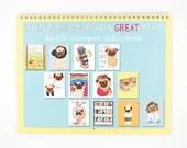 Reserved Listing for Feebee42 - Pug Dog Art 2017 Wall Calendar, Pug Gift, Pug Print, Gifts for Pet Lovers, Pug Decor, Funny Animal Art