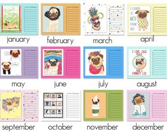 Pug Dog Art 2017 Wall Calendar, Pug Gift, Pug Print, Gifts for Pet Lovers, Pug Decor, Funny Animal Art, Fun Dog Lover Gift,Dog Art Print