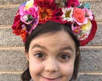 Dia De Los Muertos Headband, Frida Kahlo, Day of the Dead Headpiece, Flower Crown, Day of the Dead Headband, Frida Kahlo Flower Crown