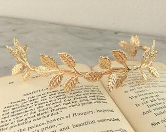 Gold Leaf Crown.Gold Leaf Tiara.Gold Leaf Bridal headpiece.Leaf fascinator.Gold Leaf hair accessory.wedding hair piece.Grecian tiara.Athena