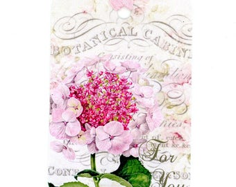 Hydrangea Gift Tags , Pink Hydrangea , For You Tags , Botanical Tags , Pink and White Tags , Vintage Style Tags , Bluebird Lane Tags