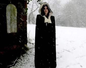 Victorian Velvet Hooded Cloak Maxi Length