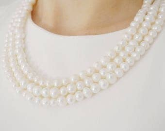 Bridal Necklace Pearl Necklace Pearl Jewelry Statement Necklace Bridal Jewelry Wedding Jewelry Wedding Necklace Luxury Jewelry Gift For Her