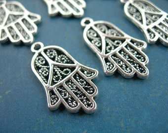 """Filigree Hamsa Hand of Fatima Charms Silver Pewter 24mm x 15mm (1"""") lot of 12 Amulet for Evil Eye"""